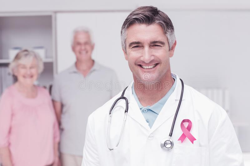 Composite image of breast cancer awareness ribbon royalty free stock photos