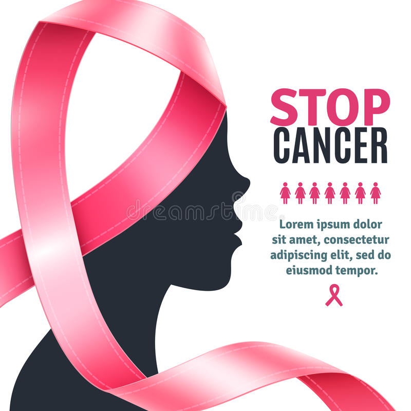Breast Cancer Awareness Ribbon Background stock illustration