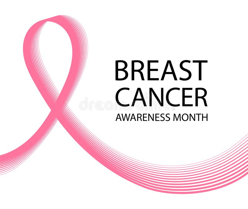 Breast cancer awareness ribbon background. Symbol of the fight against breast cancer. stock illustration