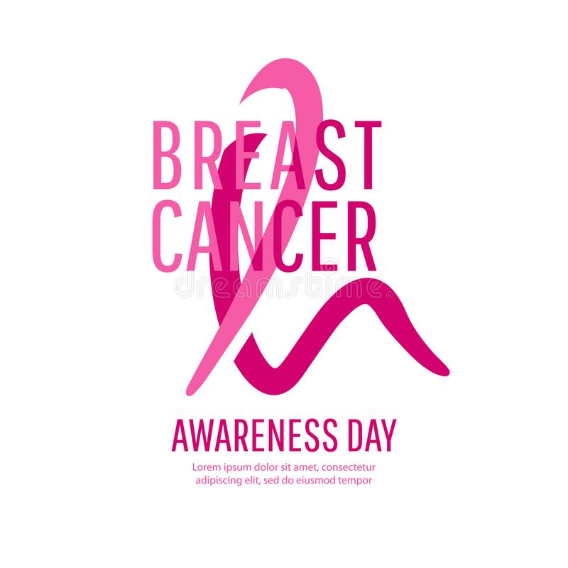 Breast Cancer Awareness Ribbon Background. Vector illustration. Bright Brest Cancer medical banner. Pink ribbon to World Breast Cancer Awareness month royalty free stock photography