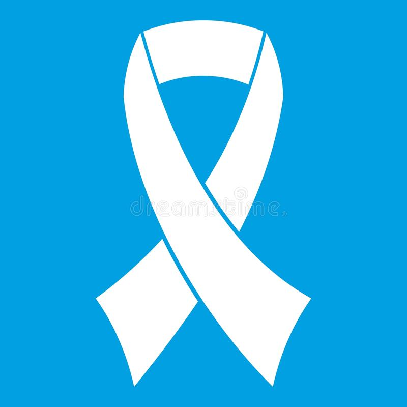 Breast cancer awareness ribbon icon white. Isolated on blue background vector illustration vector illustration