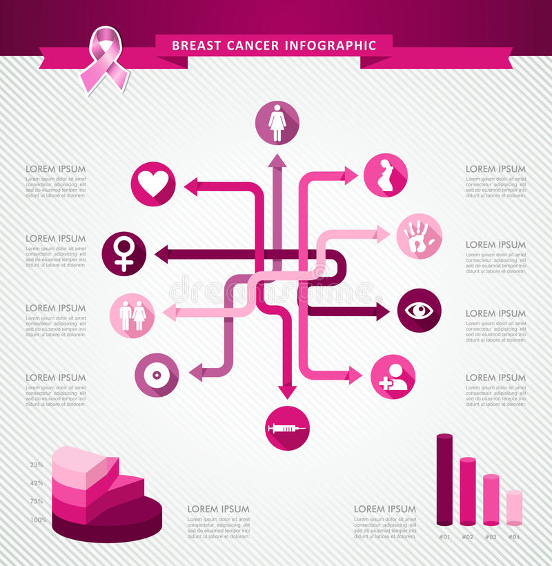 Breast cancer awareness ribbon infographic template EPS10 file. stock photo