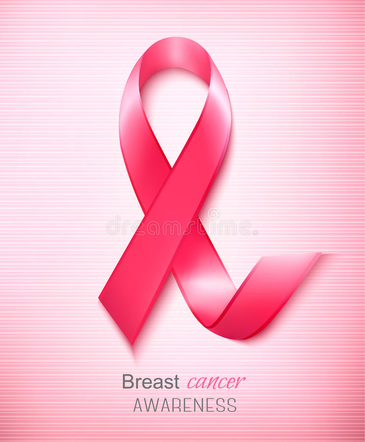 Breast cancer awareness ribbon on a pink background. royalty free illustration
