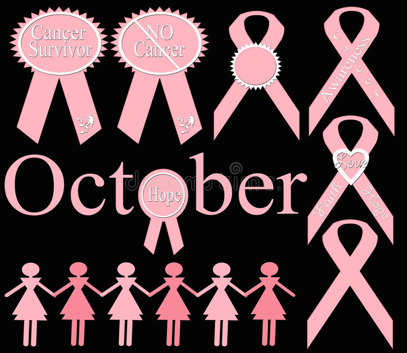 Breast Cancer Awareness Ribbon Set stock illustration