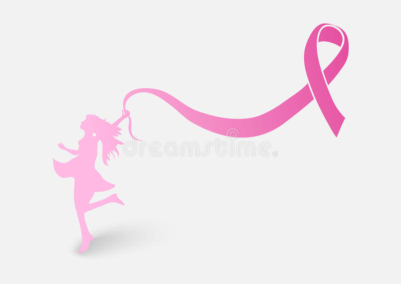 Breast cancer awareness ribbon with woman shape EP royalty free illustration