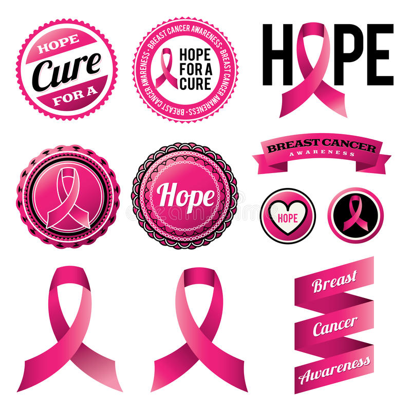 Finest Breast Cancer Awareness Ribbons And Badges Stock Vector  DW46