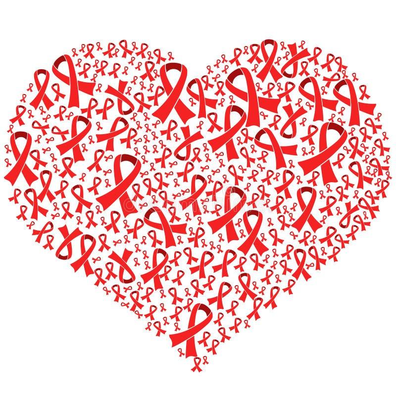 Breast cancer awareness ribbons heart shape royalty free illustration