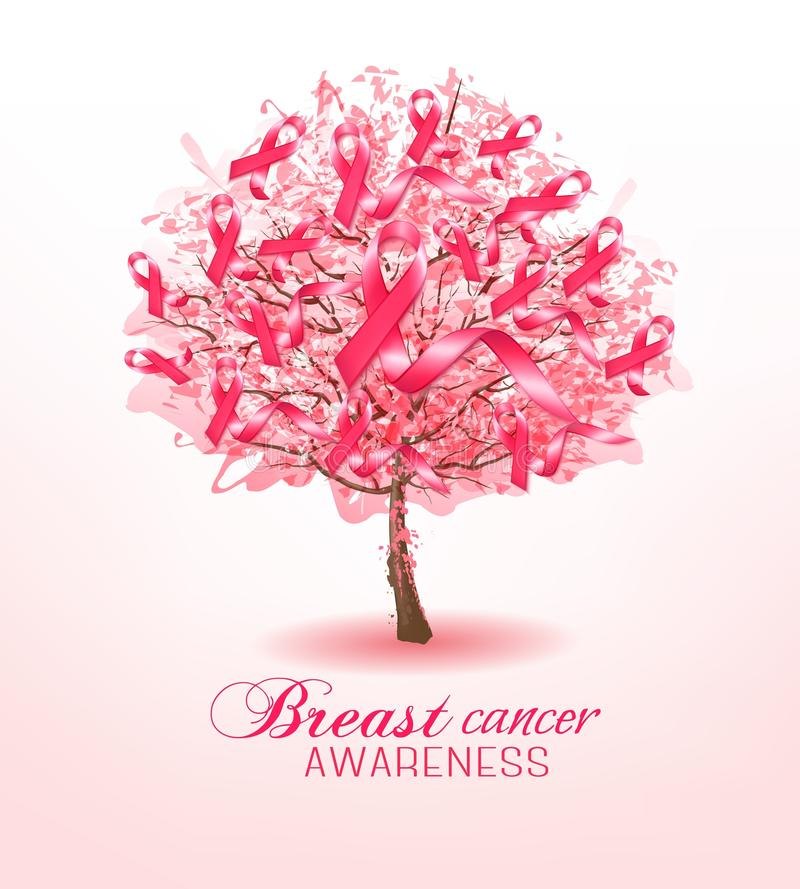 Breast cancer awareness ribbons on a sakura tree. vector illustration