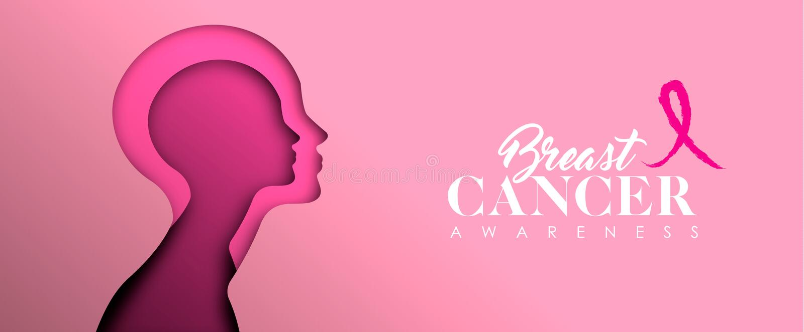 Breast Cancer Awareness cutout woman face banner. Breast Cancer Awareness web banner illustration for support and health care. Pink paper cut woman face royalty free illustration