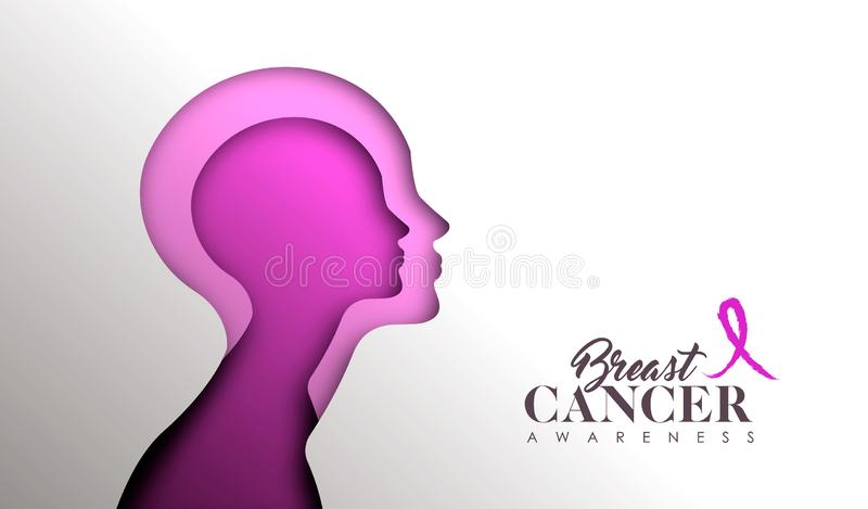 Breast Cancer Awareness paper cut woman face. Breast Cancer Awareness web banner illustration for support and health care. Pink paper cut woman face silhouette stock illustration