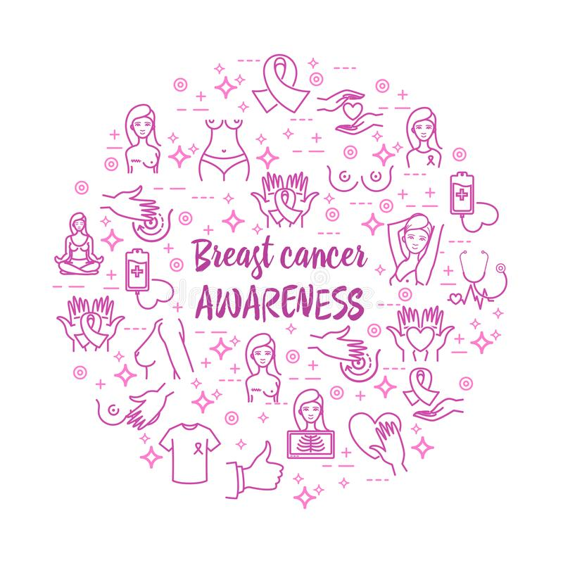 Breast cancer awareness vector icons set. Breast cancer awareness and women healthcare vector icons set for your design vector illustration
