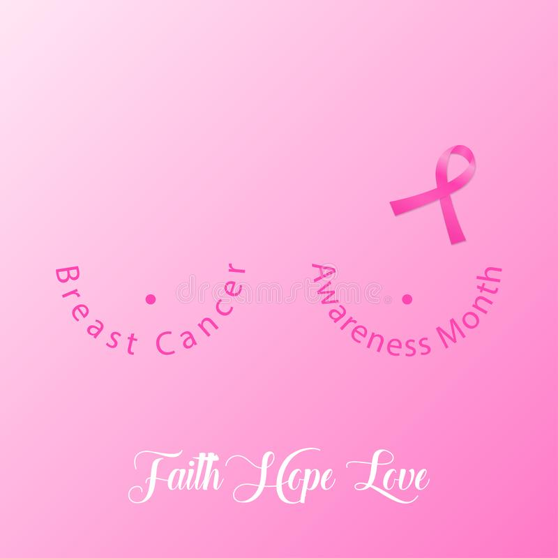 Breast cancer background with pink ribbon. Beast cancer awareness month banner. Vector. Breast cancer background with pink ribbon. Beast cancer awareness month vector illustration