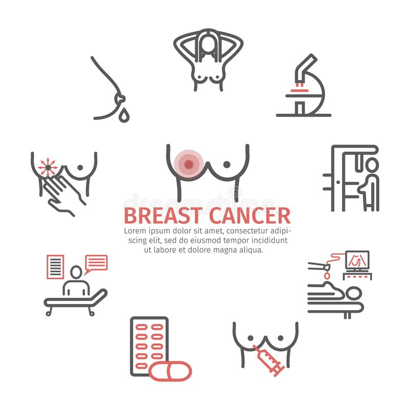 Breast Cancer banner. Symptoms, Causes, Treatment. Line icons set. Breast Cancer. Symptoms, Causes, Treatment. Line icons set. Vector signs for web graphics vector illustration