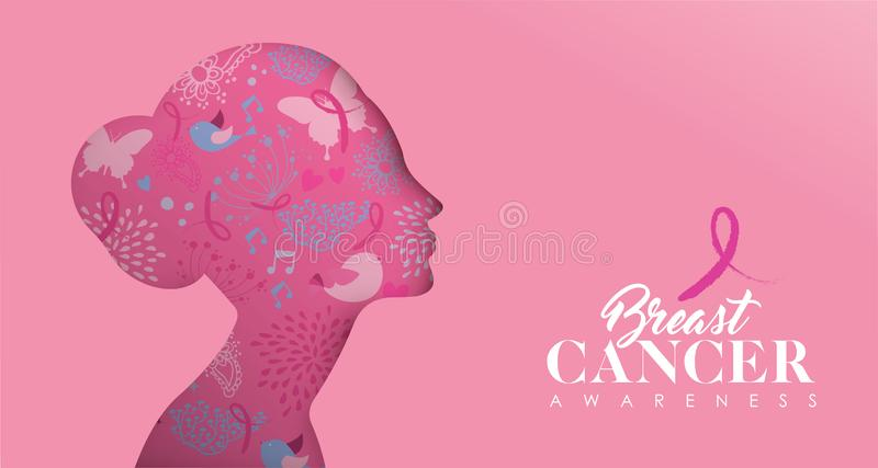 Breast Cancer Care banner of cutout woman face. Breast Cancer Awareness web banner illustration for support and health care. Pink paper cut woman face silhouette royalty free illustration