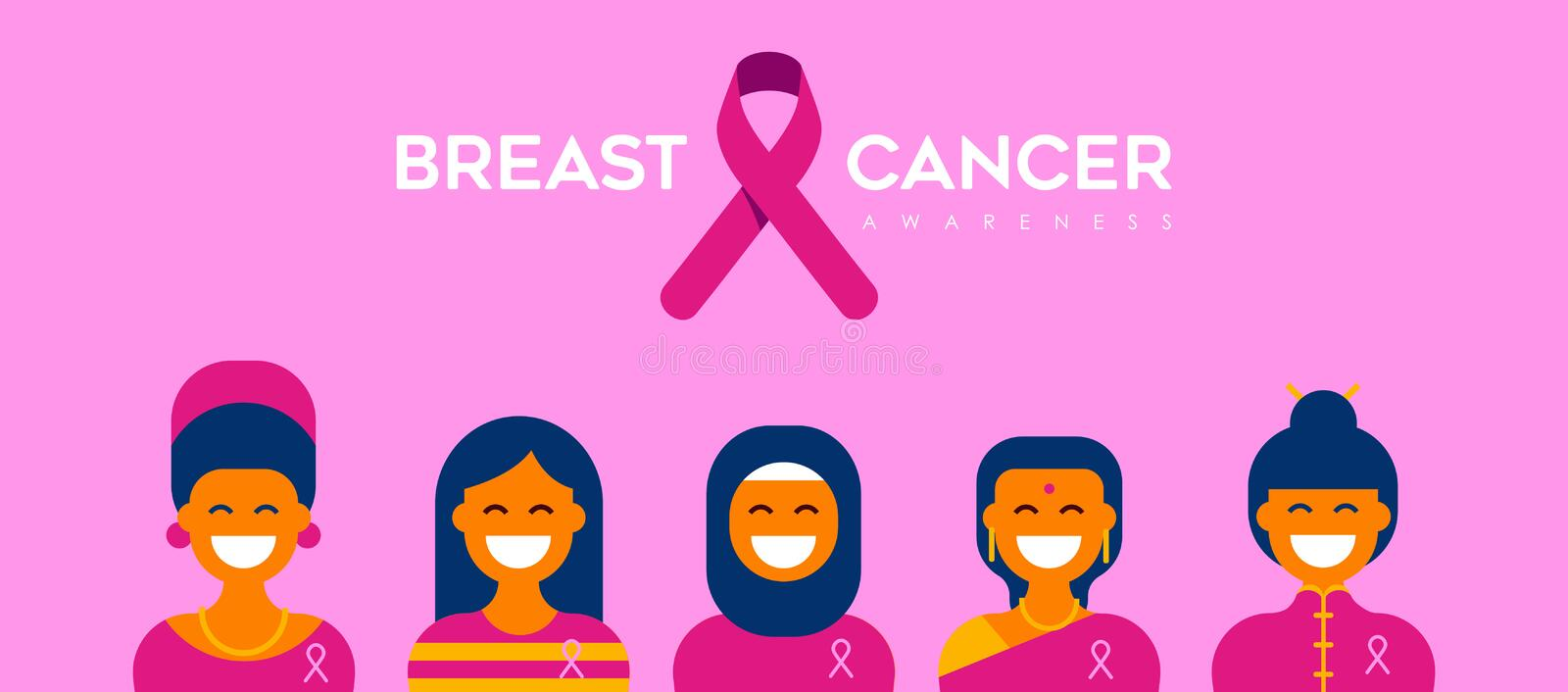 Breast Cancer Care diverse girl group for support. Breast Cancer Awareness banner illustration for help and support. Diverse woman group of mixed cultures with stock illustration