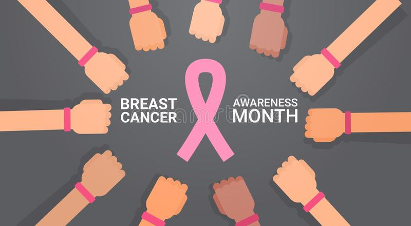 Breast Cancer Day Group Of Hands With Pink Ribbons Disease Awareness Prevention Poster Greeting Card stock illustration