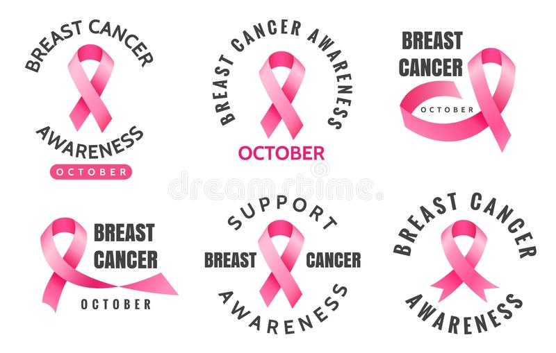 Breast cancer emblems stock illustration