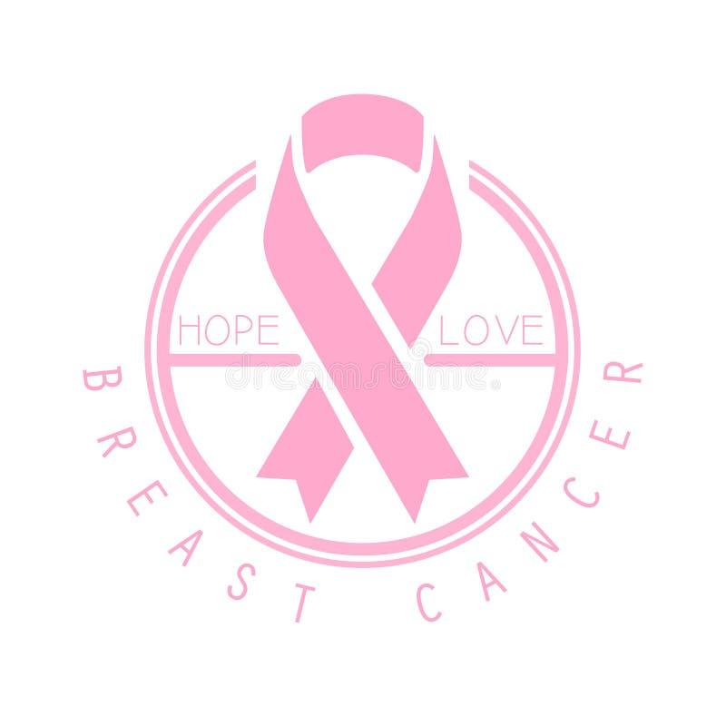 Breast cancer, hope, love label. Vector illustration in pink colors. Badge for breast cancer awareness poster, card, banner vector illustration