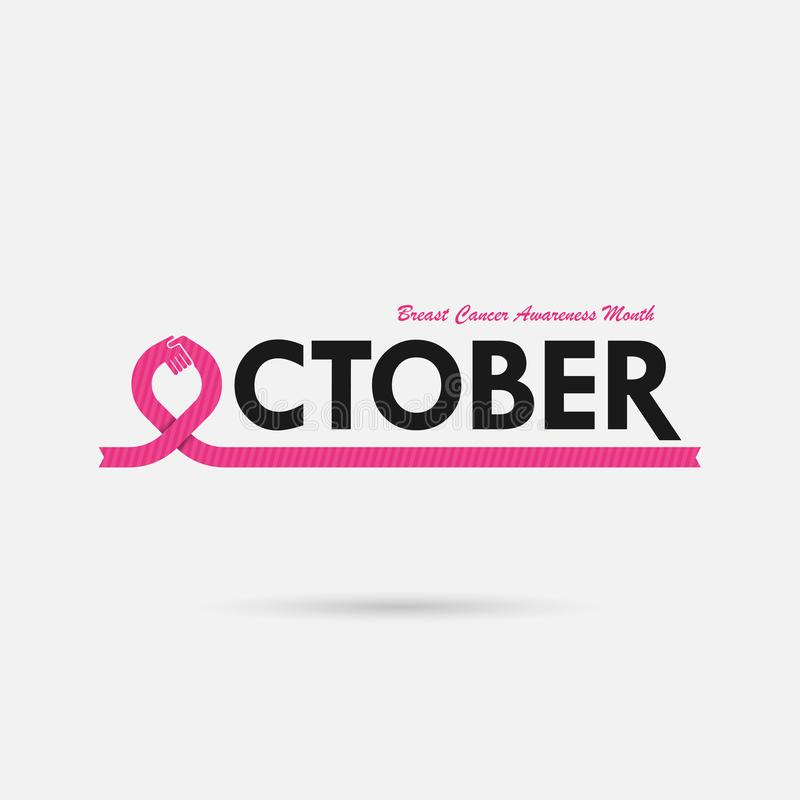 Breast Cancer October Awareness Month Campaign Background.Women stock illustration