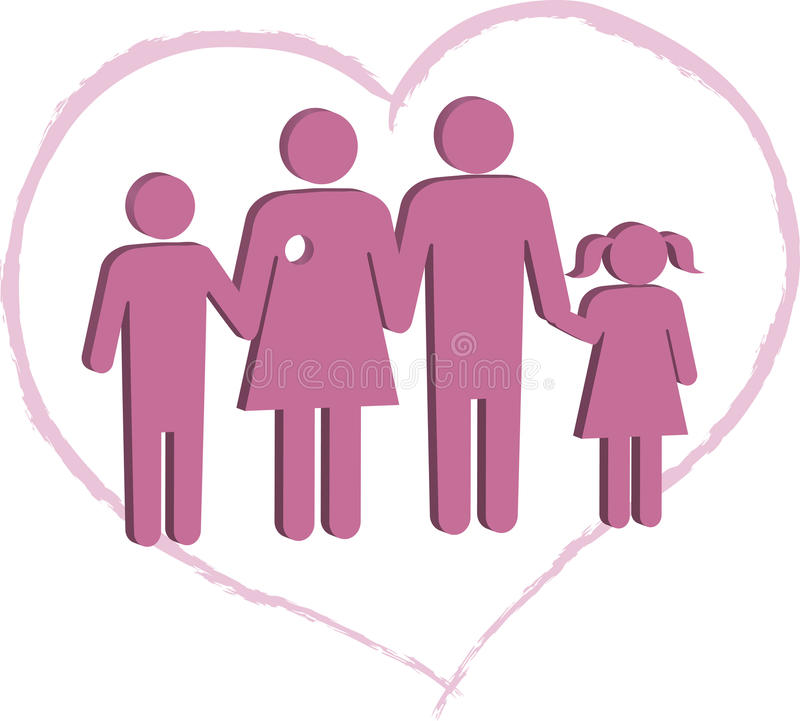 Breast cancer patient family support royalty free illustration