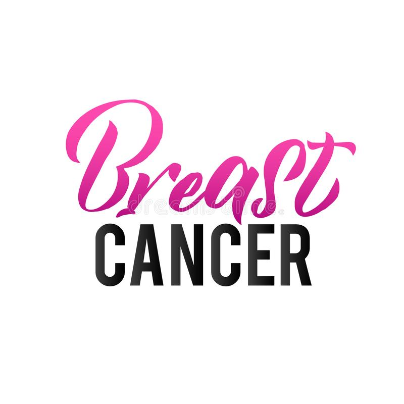 Pink Ribbon Breast Cancer Awareness Vector Illustration. Breast Cancer. Pink Ribbon Breast Cancer Awareness Vector Illustration. Callirgaphic Poster Template royalty free illustration