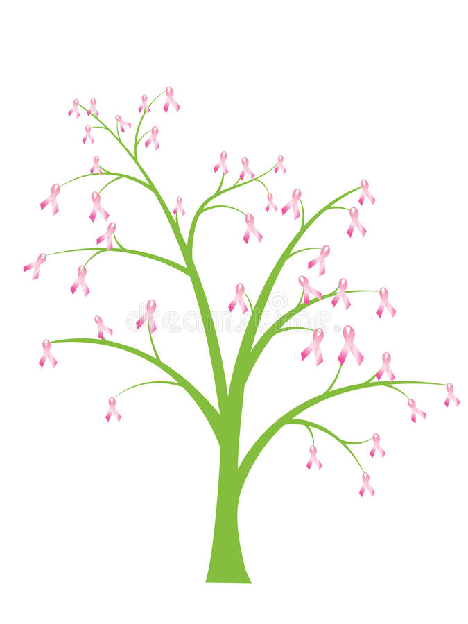 Breast cancer pink ribbon tree vector illustration