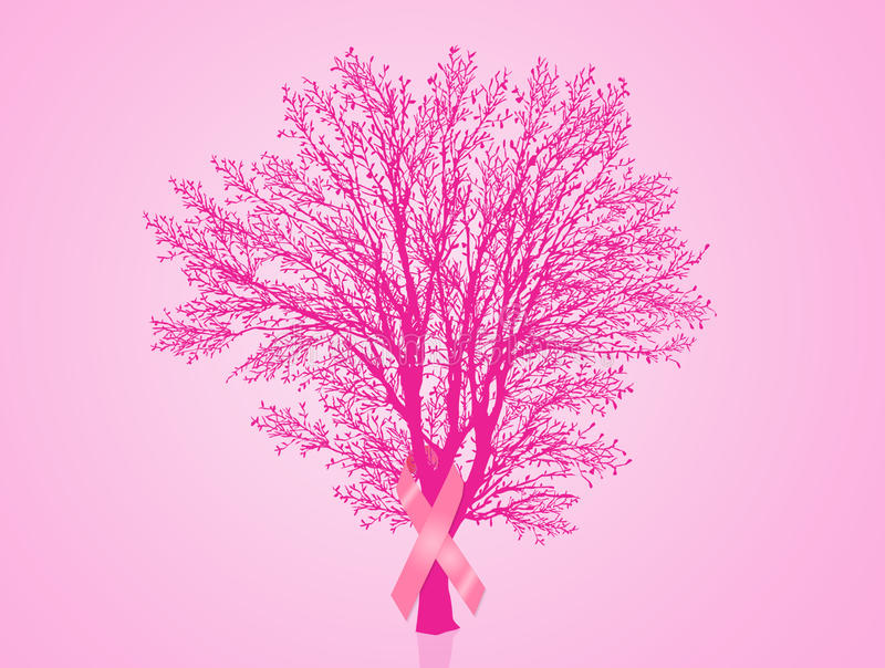 Breast cancer ribbon on tree. Illustration of tree with pink awareness ribbon for breast cancer royalty free illustration