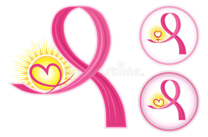 Breast Cancer Ribbons Icons. Hope for breast cancer - set of pink ribbons icons with heart and female gender symbol. Isolated over white background. Vector file vector illustration