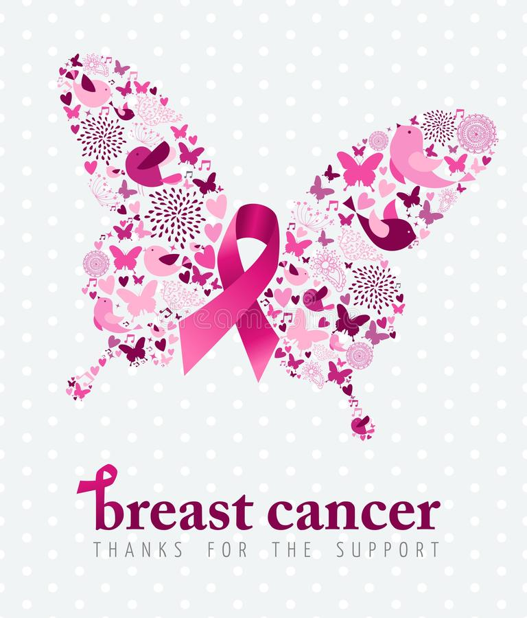 Breast cancer support poster pink ribbon butterfly stock illustration