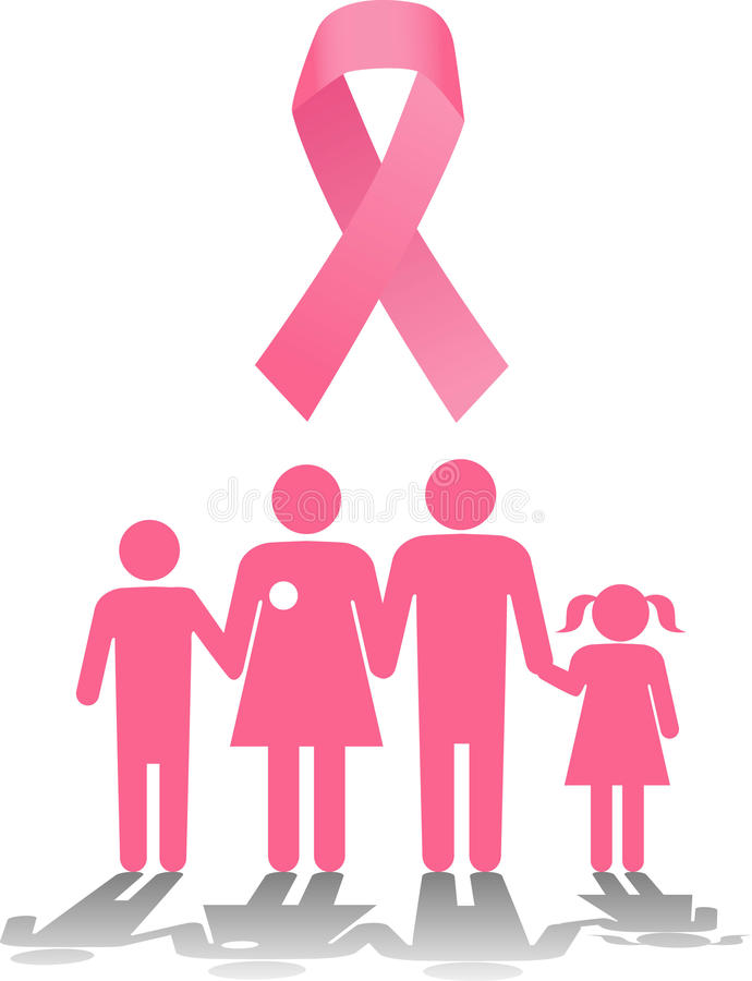 Breast cancer survival family support royalty free illustration