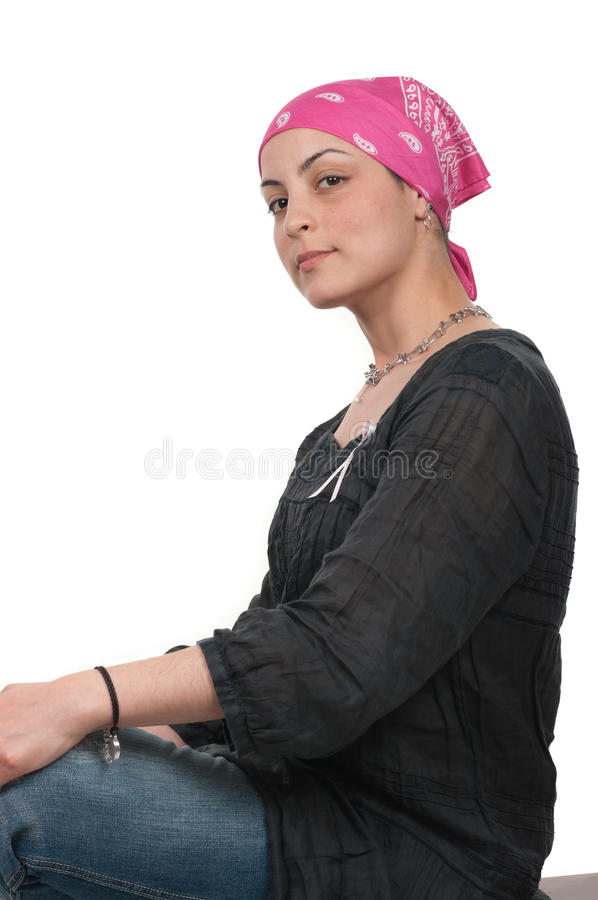 Breast Cancer Survivor. Brave breast cancer survivor two months after chemotherapy royalty free stock photography