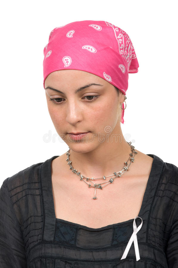 Breast Cancer Survivor. Worried real breast cancer survivor 2 months after chemotherapy royalty free stock images