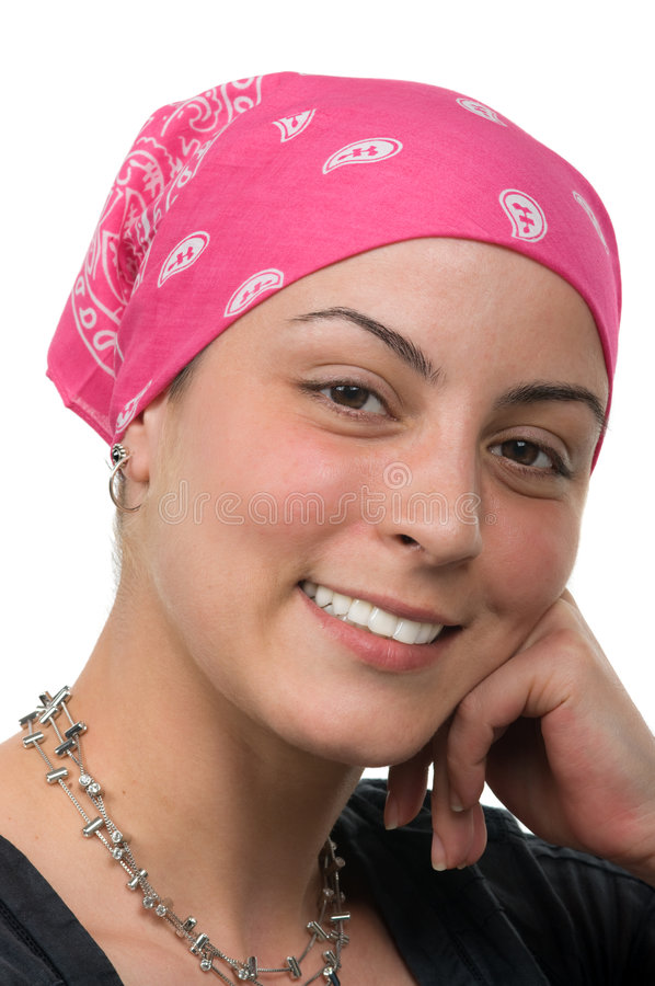 Breast Cancer Survivor. Beautiful breast cancer survivor with bandanna ( 2 months after chemo stock photos