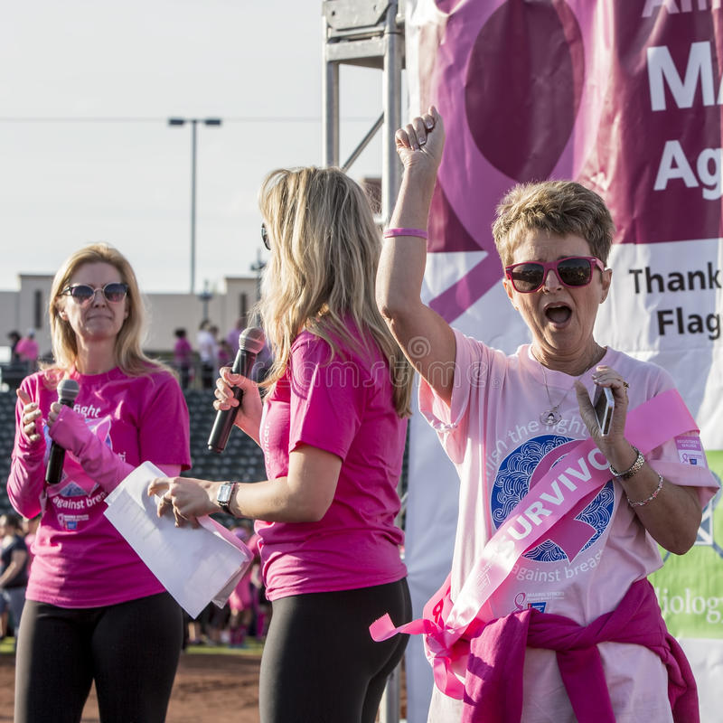Breast Cancer Survivor at Awareness Event. TUCSON, PIMA COUNTY, ARIZONA, USA - OCTOBER 18: Unidentified breast cancer survivor at 2015 American Cancer Society royalty free stock photos