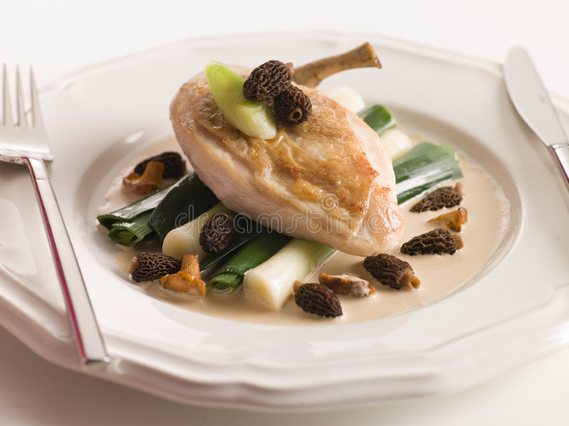 Breast of Chicken with Morels Baby Leeks. And Madeira Cream stock photos