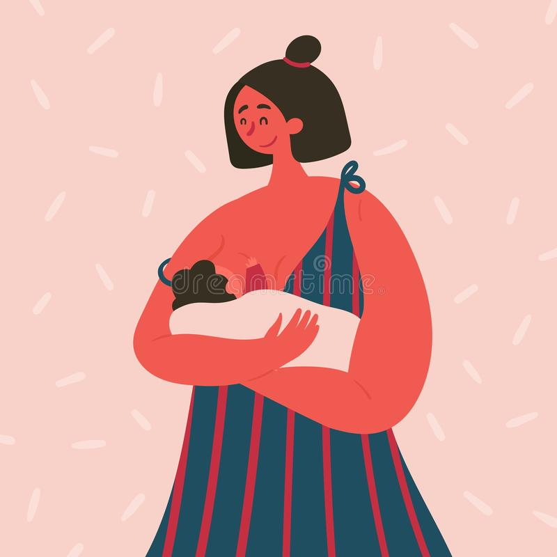 Breast feeding happy woman with baby on her hands stock illustration