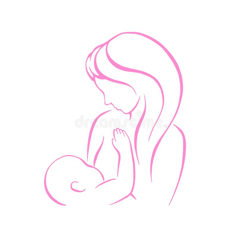 Breast feeding vector sign. Mother holding newborn baby in arms, abstract symbol of woman breastfeeding baby. Mother royalty free illustration