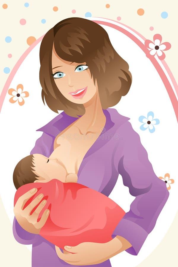 Breast feeding woman. A illustration of a woman breast feeding her baby stock illustration