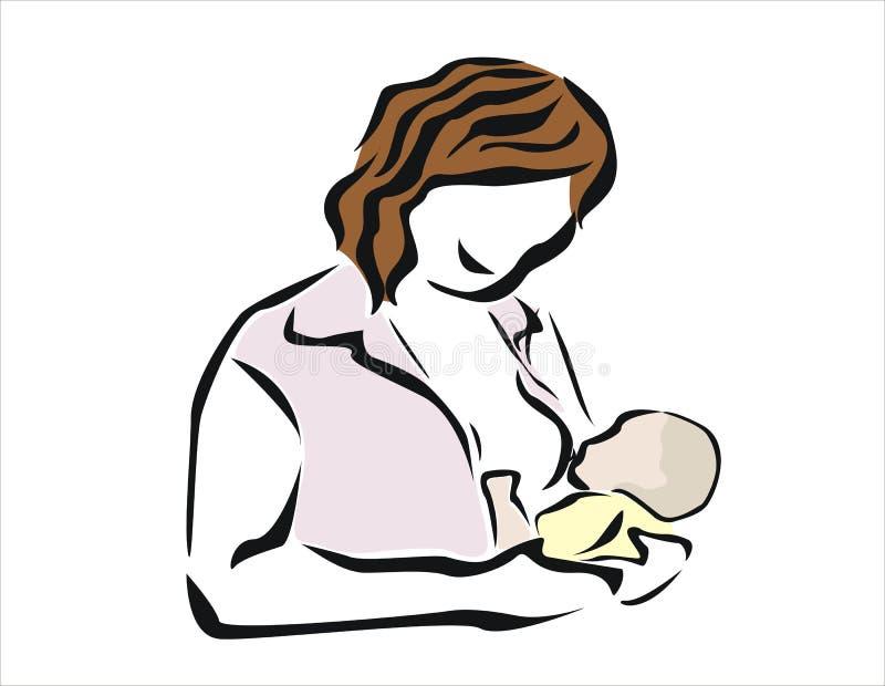 Breastfeed. Smiling woman breastfeeding her newborn stock illustration