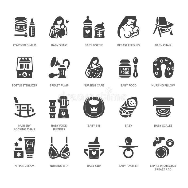 Free Breastfeeding, Baby Food Vector Flat Glyph Icons. Breast Feeding Elements - Pump, Woman, Child, Powdered Milk, Bottle Stock Photography - 117714252