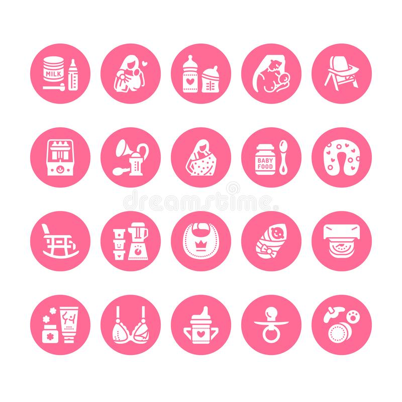Free Breastfeeding, Baby Food Vector Flat Glyph Icons. Breast Feeding Elements - Pump, Woman, Child, Powdered Milk, Bottle Stock Photo - 119870790