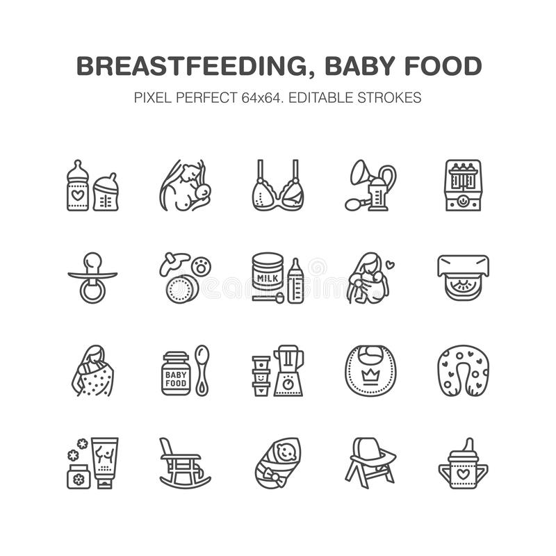 Breastfeeding, baby food vector flat line icons. Breast feeding elements - pump, woman, child, powdered milk, bottle. Sterilizer, nursing pillow. Maternity royalty free illustration