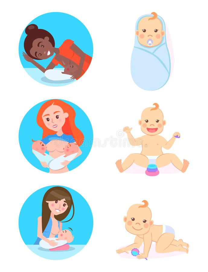 Breastfeeding Concept, Vector Woman and Children. Breastfeeding concept, vector multinational woman feeding children by own milk. Vector baby milestones from 1 stock illustration