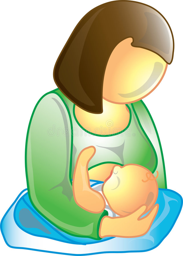 Breastfeeding icon. Icon of a mother breastfeeding her baby stock illustration