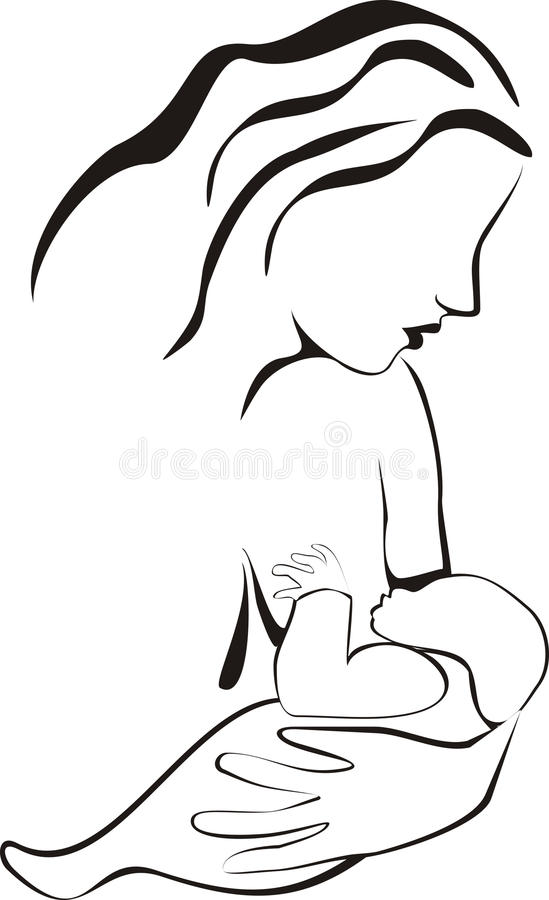 Breastfeeding Line Art stock illustration