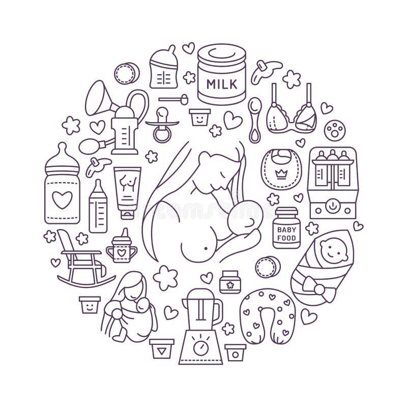 Breastfeeding poster template. Vector line illustration of breast feeding, baby food. Nursery element: breast pump. Breastfeeding, powdered milk, bottle stock illustration