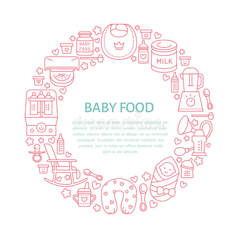 Free Breastfeeding Poster Template. Vector Line Illustration Of Breast Feeding, Baby Infant Food. Nursery Element: Breast Pump, Woman, Stock Photo - 79647780