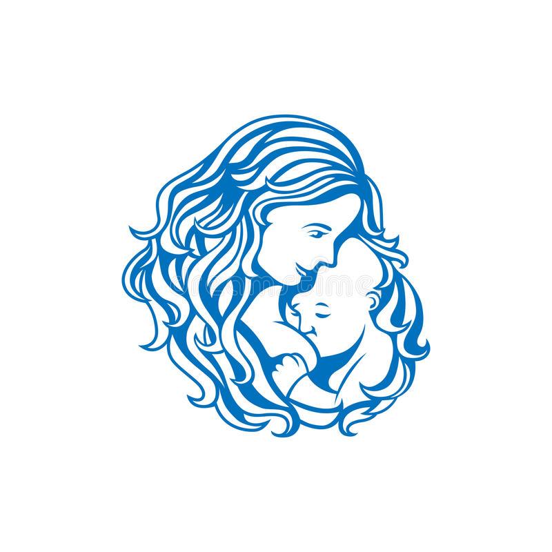 Breastfeeding sign. Breast feeding sign. Logo in line-art style royalty free illustration