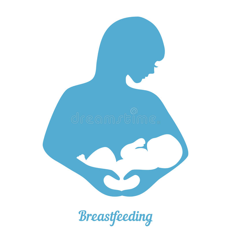 Breastfeeding symbol. Mother breastfeeding symbol. Illustration of woman feeding baby. Concept of maternity, love and care vector illustration