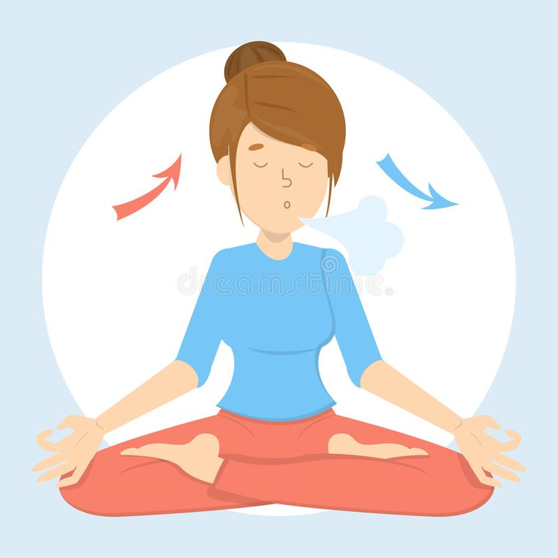 Breath exercise for good relaxation. Breathe in and out royalty free illustration